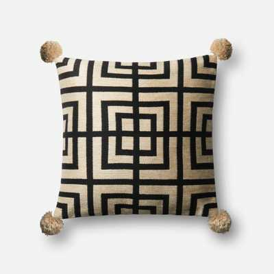 "PILLOWS - BEIGE / BLACK - 18"" X 18"" Cover Only - Loma Threads"