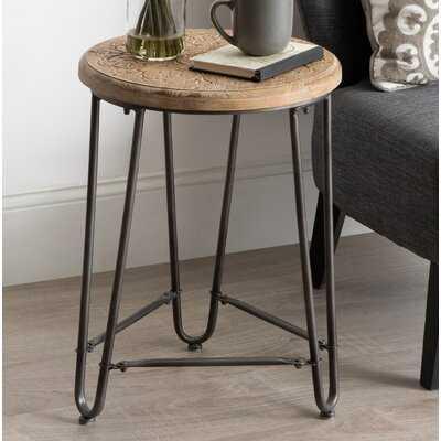 Goff Carved Wood And Metal Side Table 15.5X15.5X22 Rustic Brown, Black - Wayfair