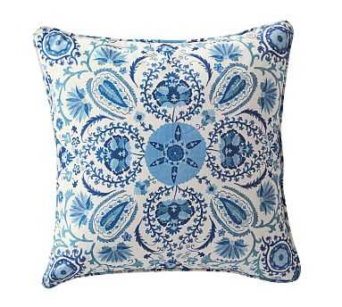 "Adya Suzani Print Pillow Cover, 20"", Blue - Pottery Barn"