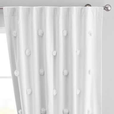 "Pom Pom Applique Blackout Curtain, 96"", White - Pottery Barn Teen"