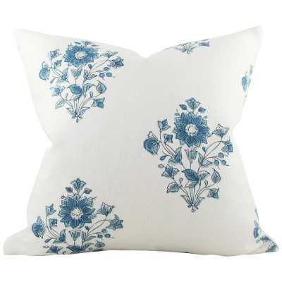 Beatrice Bouquet Indigo - 13x25 pillow cover (lumbar - long) / pattern on both sides - Arianna Belle