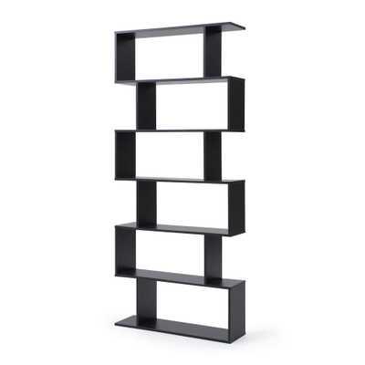 AC Pacific Modern Staggered 6-Shelf Luke Bookcase, Black - Home Depot