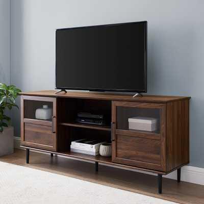 """Welwick Designs 58"""" Glass & Wood Split Panel Door TV Console - Dark Walnut - Home Depot"""