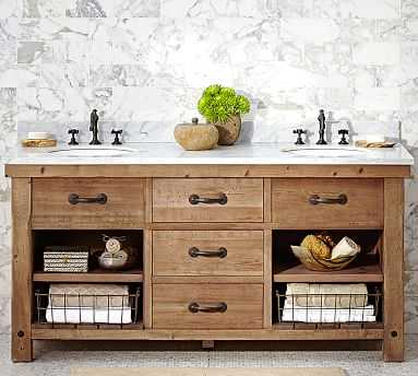 Benchwright Double Sink Vanity, Wax Pine Finish - Pottery Barn