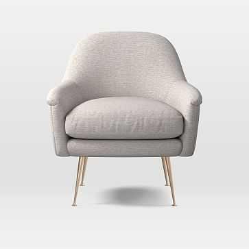 Phoebe Mid-Century Chair, Twill, Wheat, Brass Legs - West Elm