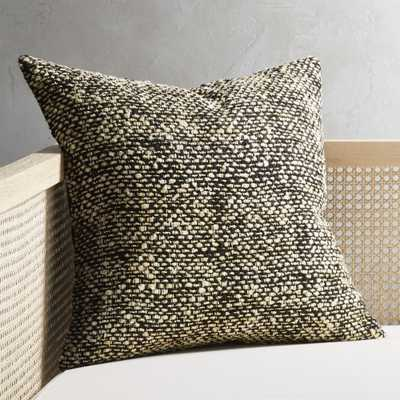 """20"""" Cozie Black and Natural Pillow with Feather-Down Insert"" - CB2"