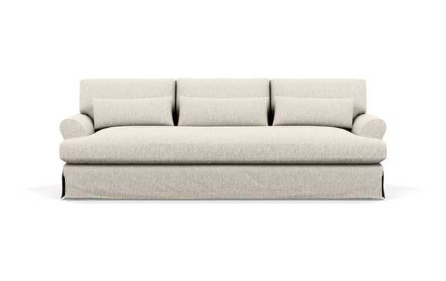 Maxwell Slipcovered Sofa with Beige Wheat Fabric and Oiled Walnut with Brass Cap legs - Interior Define