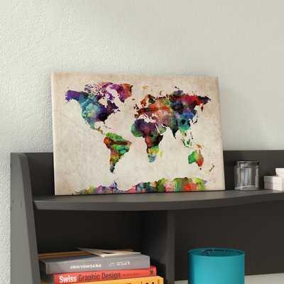 'World Map Urba Watercolor II' by Michael Tompsett Graphic Art Print - AllModern
