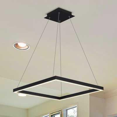 VONN Lighting Atria Square 38-Watt Black Integrated LED Chandelier - Home Depot