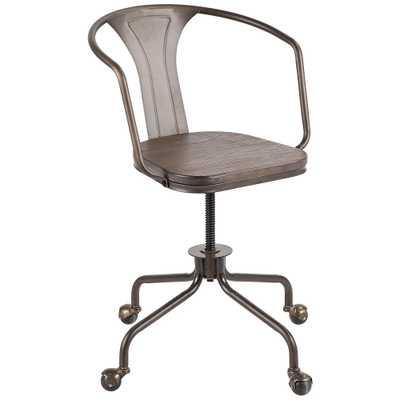 Oregon Antique Metal Swivel Adjustable Wheel Task Chair - Style # 67W88 - Lamps Plus