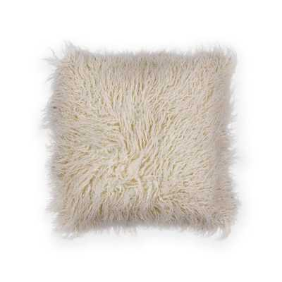 Ivory Shaggy 20 in. x 20 in. Decorative Pillow - Home Depot