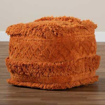 Bridgnorth Moroccan Inspired Orange Handwoven Cotton Pouf Ottoman - Wayfair