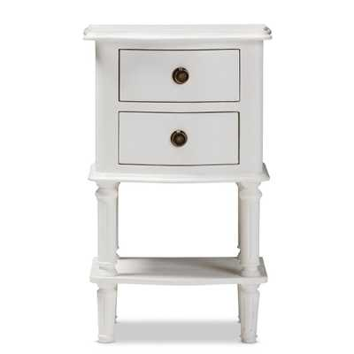 Audrey 2-Drawer White Nightstand - Home Depot