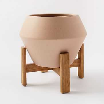 Ilya Turned Wood Planters, Speckled, Wide - West Elm