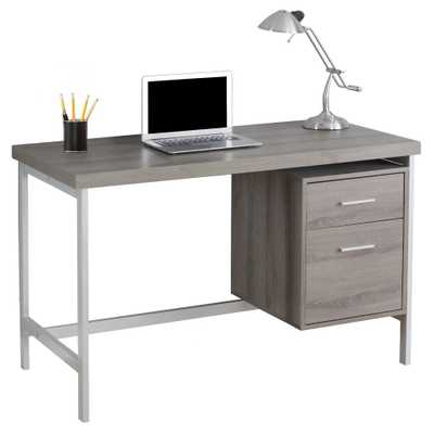 Computer Desk with Drawers - Silver Metal&Dark Taupe - EveryRoom, Dark Taupe - Target