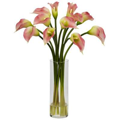 Mini Calla Lily Silk Floral Arrangement in Vase - Birch Lane