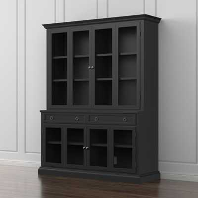 Cameo 2-Piece Modular Bruno Black Glass Door Wall Unit - Crate and Barrel