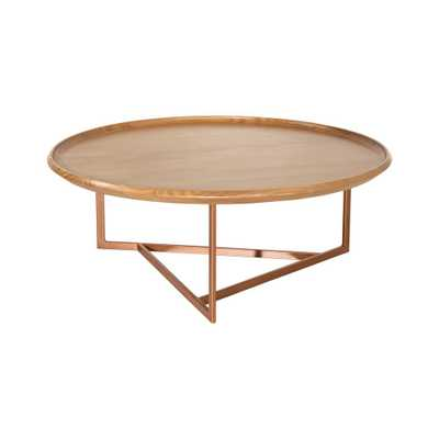 Luxor Javitz 31.88 in. Cinnamon Modern Round Coffee Table, Red - Home Depot