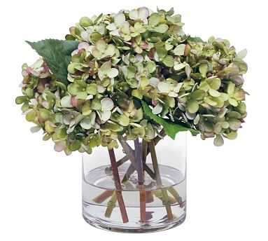 Faux Hydrangea Arrangement in Glass Vase - Pottery Barn