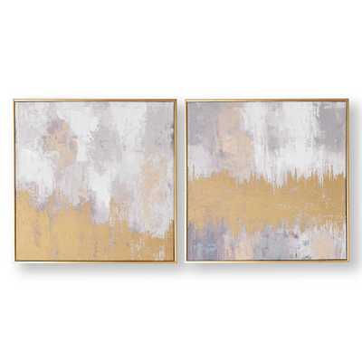 "20 in. x 20 in. ""Laguna Mist"" Printed Canvas Wall Art, Gray And Gold - Home Depot"