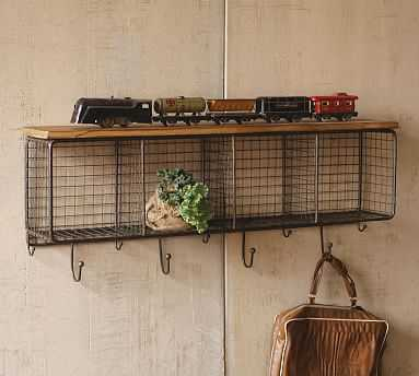 Wood Shelf With Four Wire Mesh Cubbies - Pottery Barn