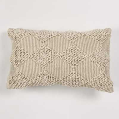 American Colors Handwoven Raised Diamond Ivory Textured Pillow - Home Depot