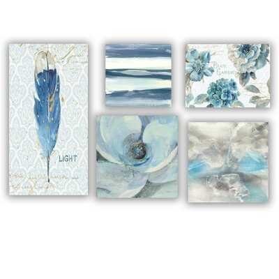 Designart 'Blue Feather Collection' Traditional Wall Art set of 5 pieces - Wayfair