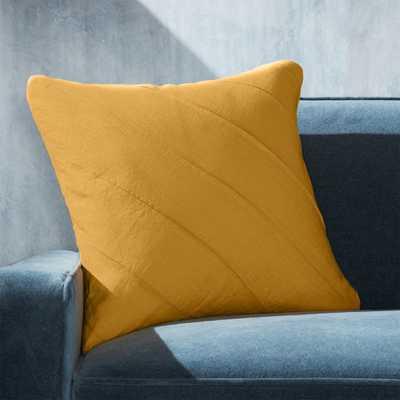 "Theta Mustard Linen Pillow with Down-Alternative Insert 20"" - Crate and Barrel"