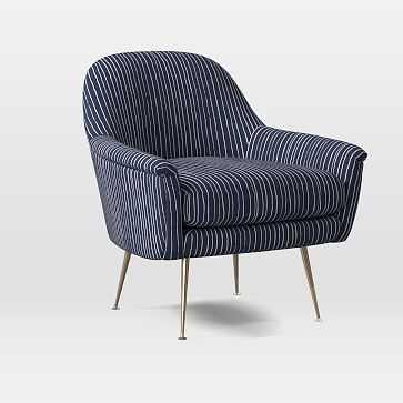 Phoebe Midcentury Chair, Poly, Chalk Stripe, Midnight White, Brass - West Elm