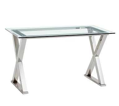 Ava Metal & Glass Desk, Polished Nickel finish - Pottery Barn