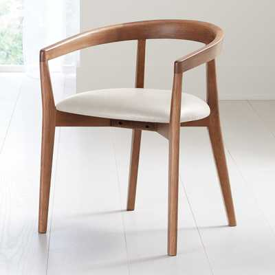 Cullen Dark Stain Sand Round Back Dining Chair - Crate and Barrel