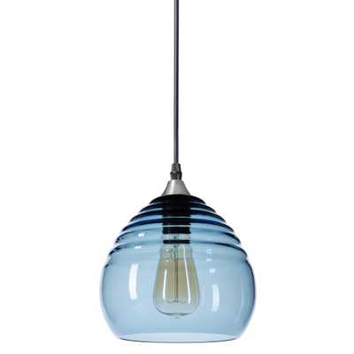 Casamotion Ripple 8 in. W x 7 in. H 1-Light Silver Hand Blown Glass Pendant Light with Grey-Blue Glass Shade - Home Depot