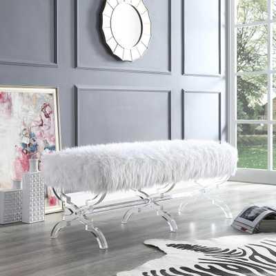 Inspired Home Reida Acrylic X-Leg Cream White Faux Fur Bench - Home Depot