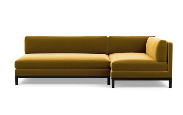 Jasper Chaise Sectional with Citrine Fabric and Matte Black legs - Interior Define
