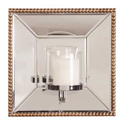 Lydia Square Mirror with Candle Holder, Antique Gold - Home Depot
