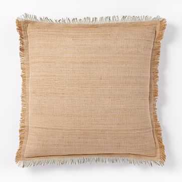 "Textured Silk Fringe Pillow Cover, 20""x20"", Gold Dust - West Elm"