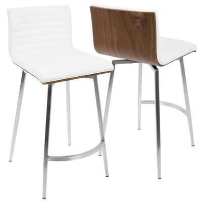 Mason 26 in. White Faux Leather Counter Stool (Set of 2), White/Brown/Brushed Stainless Steel - Home Depot