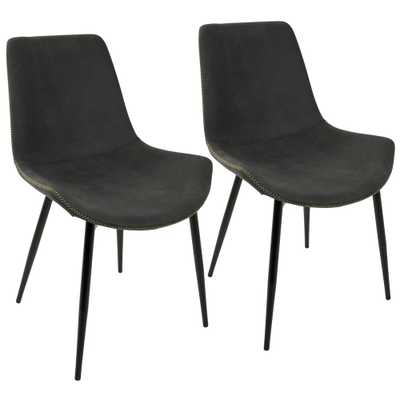 Duke Black and Grey Dining Chair (Set of 2), Grey/Black - Home Depot