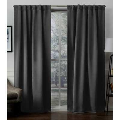 Exclusive Home Curtains Sateen Charcoal (Grey) Woven Blackout Hidden Tab Top Curtain - 52 in. W x 96 in. L - Home Depot