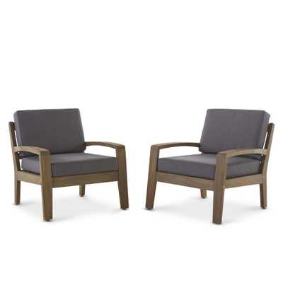 Noble House Grenada Grey Stationary Wood Outdoor Lounge Chair with Dark Grey Cushion (2-Pack)) - Home Depot