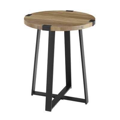18 Metal Wrap Round Side Table Rustic Oak - Saracina Home - Target