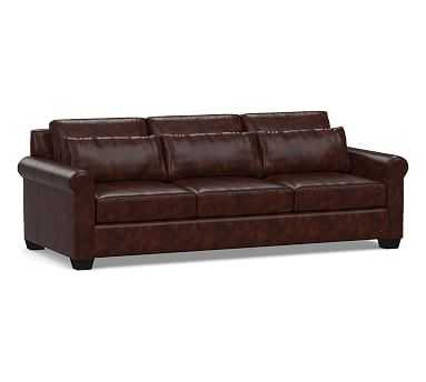 York Deep Seat Roll Arm Leather Grand Sofa, Down Blend Wrapped Cushions, Legacy Tobacco - Pottery Barn