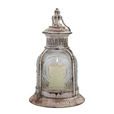 10 in. x 6 in. Cafe Terrace Lantern, Weathered White - Home Depot