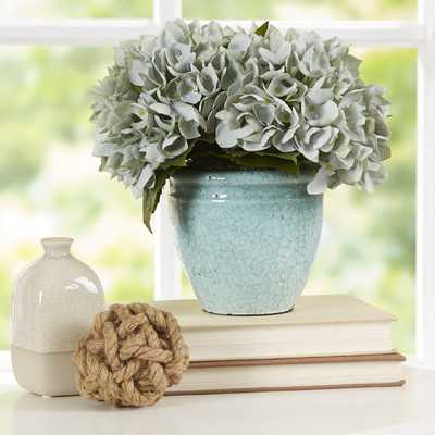 Blue Sea Foam Hydrangea Floral Arrangement in Rustic Pot - Birch Lane