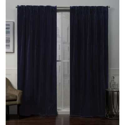 Exclusive Home Curtains Velvet Heavyweight Pinch Pleat Top Curtain Panel Pair in Navy Blue - 27 in. W x 84 in. L (2-Panel) - Home Depot
