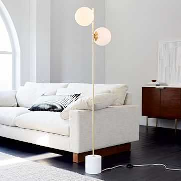 Sphere + Stem Floor Lamp, Brass/Milk Glass, 2-Light - West Elm