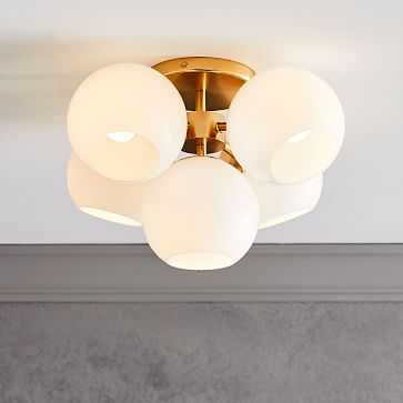 Staggered Glass Flushmount, Antique Brass, Milk Glass - West Elm