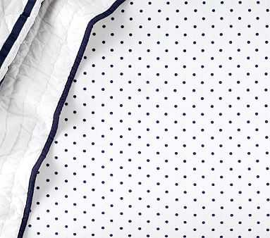 Chamois Pin Dot Crib Fitted Sheet, Crib Fitted, Navy - Pottery Barn Kids