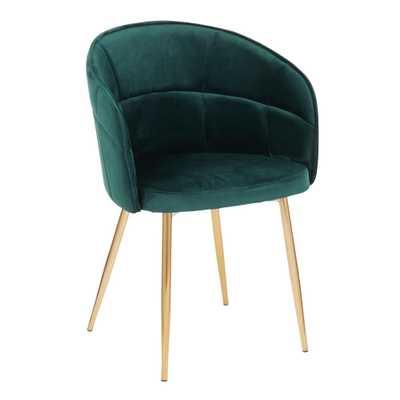 Lumisource Lindsey Green Velvet Dining Chair - Home Depot