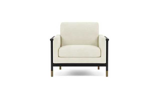 Jason Wu Chair with White Ivory Fabric and Matte Black with Brass Cap legs - Interior Define